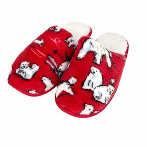 Vera Bradley Beary Merry Slippers, Red, Size 9-10